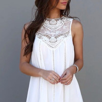 Jenny White Lace Boho Mini Dress
