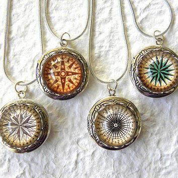 Antique Compass Locket Necklace  Pick your by TheGreenDaisyShop