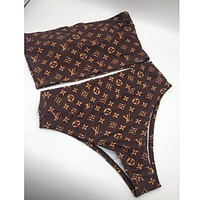 Louis vuitton sells sexy printed two-piece bikinis for women's fashion Coffee