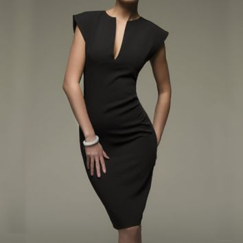 Design V-Neck Solid Color Pencil Dress