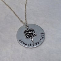 "Hand Stamped Aluminum Necklace / RN Necklace with RN Nurse Charm / ""live love heal"" RN Hand Stamped Necklace / Hand Stamped Jewelry"