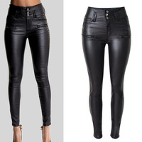 PU Leather High Waist Slim Elastic Pencil Pants and Waist band Pencil Pants