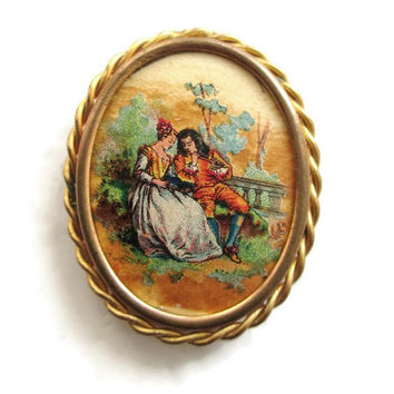 Victorian French Colonial Miniature Hand painted Oil on Card  Courting Cameo Pin with Trombone Clasp