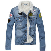 Applique Faux Fur Wash Denim Jacket