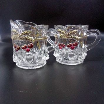 Northwood Cherry And Cable Clear Ruby & Gold Trim Creamer And Sugar Bowl