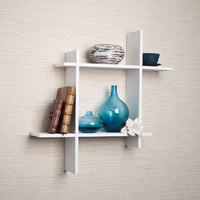 Asymmetrical Square Floating Wall Shelf - White Laminate