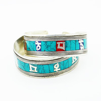 TURQUOISE ➳ NEPALESE MANTRA CUFFS