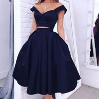 Homecoming Dress, Off-the-Shoulder Two Pieces Cocktail Dresses Short Prom Dresses