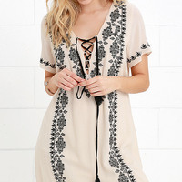 Marquesas Islands Black and Beige Embroidered Shift Dress