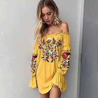 Fashion Strapless Flower Embroidery Long Sleeve Mini Dress