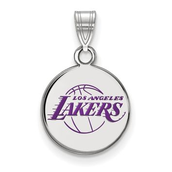 NBA Los Angeles Lakers Small Disc Pendant in Sterling Silver Necklace