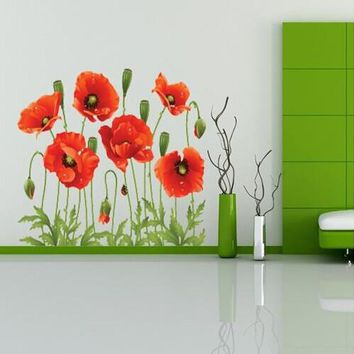 Big Discount!! RED POPPY Removable Wall Decals Home Decor Art Flower Vinyl Mural Wall Stickers Free Shipping XY8001