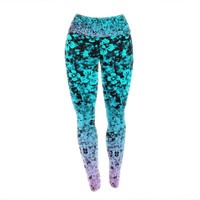 "Ebi Emporium ""Flower Power in Aqua"" Blue Purple Yoga Leggings"