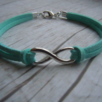 Infinity Eternity Love Symbol Aqua Faux Suede Friendship Bracelet