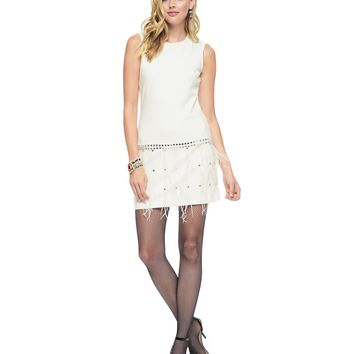 Vanilla Feather Embellished Ponte Shift Dress by Juicy Couture,