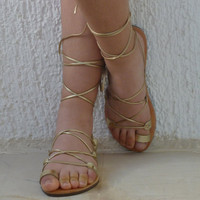 Greek Leather lace-up Sandals Gold