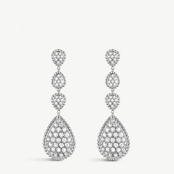 BOUCHERON Serpent Bohème 18ct white-gold and diamond pendant earrings