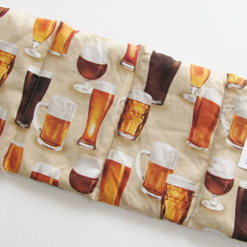 Microwave Heating Pad Wrap, Hot or Cold Therapy For Neck, Joint, Back Pain, Cramps, Pain Relief, Draft Beer Mug and Glass Pattern, Unscented