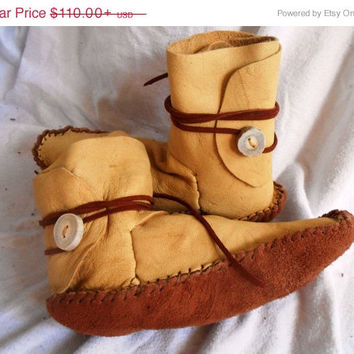 ON SALE Moccasins, Ankle Wrap, Custom Made to Order, Native American, Mountain Man, Rendezvous, Powwow, Regalia, Festival Wear,