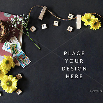 Styled Stock Photography - Product Presentation - Hero Header Image - Yellow Daisies & Vintage Goods on Clean Chalkboard Desktop Background
