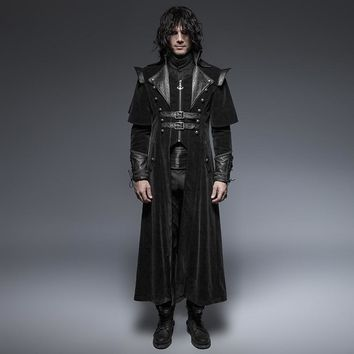 Gothic Cool Leather Belts Long Cloak Coat for Men Visual Kei Steampunk Black Casual Long Jacket Cape Style Overcoats