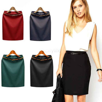 Women High Waist Solid Pencil Skirt