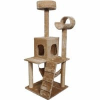 "52"" Cat Kitty Tree Tower Condo Furniture w/ Scratch Post and Bed - Beige"