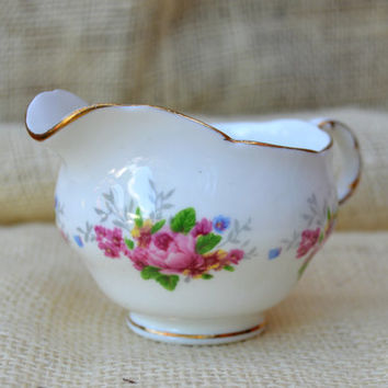 Adderley Fine Bone China Creamer  // Pink Rose English Bone china