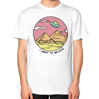 Pyramid X filies Egyptian alien ufo desert sphynx 90s retro 80s Unisex T-Shirt (on man)