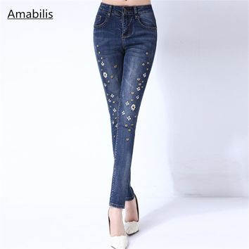 Fashion women's embroidered jeans women's high waist feet cotton stretch retro embroidered Full Length Slim sexy pencil pants