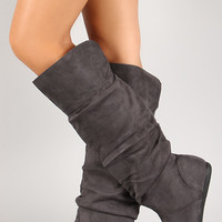 Slouchy Faux Suede Round Toe Knee High Boot