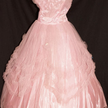 1950s Womens Pink Tulle Strapless Party Prom Cocktail Dress Sz 4 Vintage Retro