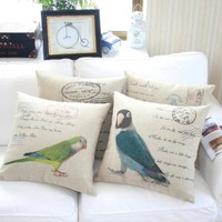 "MagicPieces Cotton and Flax Budgerigar Theme Decorative Pillow Case Cover C 18"" x 18"" Square Shape-18 inches-bird-Budgerigar-pet"