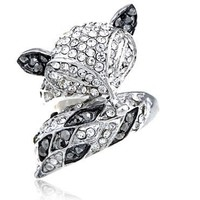 Sly Foxy Fox Animal Crystal Rhinestone Silver Tone Jewelry Fashion Adj Ring