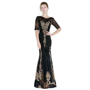 Black Gold Prom Dresses Sequined Bling Mermaid Half Sleeves Evening Gowns Long Floor Length Prom
