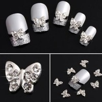 Yesurprise Silver Rhinestones Butterfly 10 pieces Silver 3D Alloy Nail Art Slices Glitters DIY Decorations