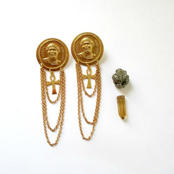 Wax Philosophic. Plato Stud Chandelier Earrings. Golden Greek Ankh Statement Jewelry