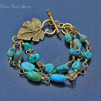 Turquoise Gold Leaf Bracelet, 3 Strands Turquoise Howlite Bracelet, Gold Leaf Toggle Clasp Bracelet, Mother's Day Gift