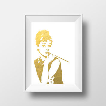 Audrey Hepburn Gold Foil Print Breakfast at Tiffany's Wall Art Holly Golightly Printable