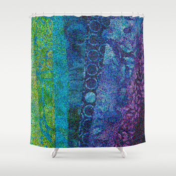 """Artistic Shower Curtain - """"Day and Night"""" Teal blue purple green, stripes, abstract, beautiful, cool colors,blue, sapphire decor, bath, home"""
