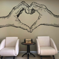 Vinyl Wall Decal Sticker Detailed Heart Hands #5268