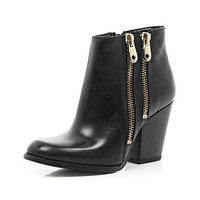 River Island Womens Black leather double zip trim ankle boots