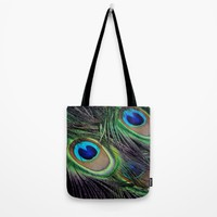 Peacock Tote Bag by WonderfulDreamPicture