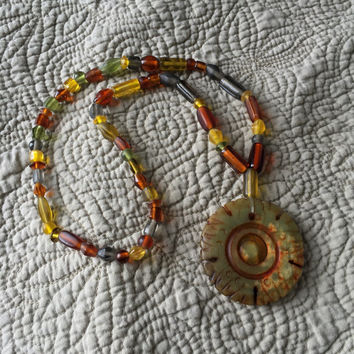 Small Glass and Stone Beaded Stretch Necklace