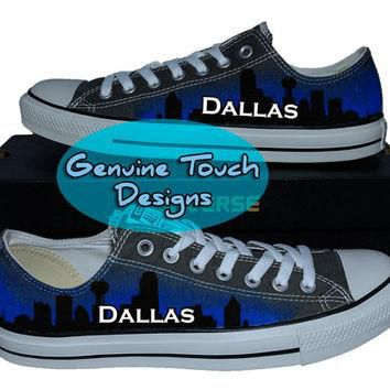 Hand Painted Converse, Dallas shoes, Skyline, Texas, Custom converse, Birthday Gifts,
