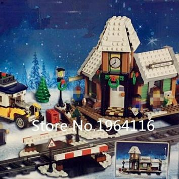New 36011 Creator series The Winter Village Station Model Building Blocks Compatible 10259 classic architecture Toy for children