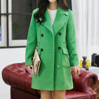 Green Long Sleeve Coat with Buttons