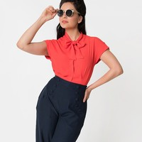 1940s Style Tomato Red Short Sleeve Button Up Crepe Tie Blouse