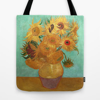 Vincent Van Gogh Twelve Sunflowers In A Vase Tote Bag by Art Gallery
