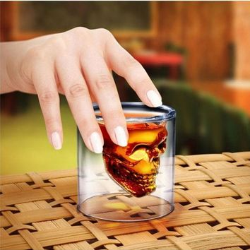 ac DCK83Q Coffee Drinks On Sale Cute Hot Deal Skull Crystal Strong Character Double-layered Transparent Cup [10250062348]